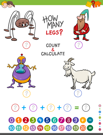 Cartoon Illustration of Educational Mathematical Counting and Addition Game for Children with Funny Characters Illustration