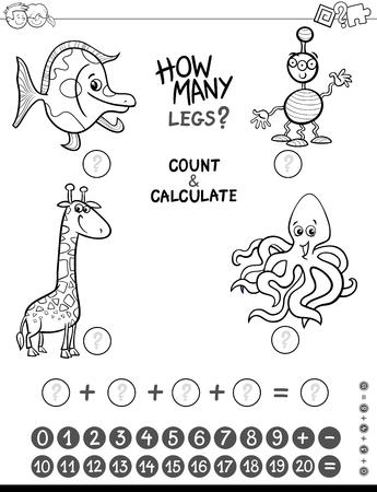 Ilustración De Dibujos Animados En Blanco Y Negro De Matemáticas