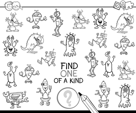 Black and White Cartoon Illustration of Find One of a Kind Educational Activity Game for Children with Fantasy Characters Coloring Page