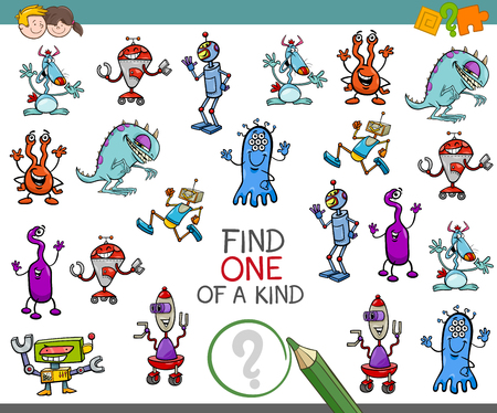 one of a kind: Cartoon Illustration of Find One of a Kind Educational Activity Game for Children with Fantasy Characters Illustration