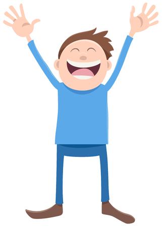 teen boy: Cartoon Illustration of Happy Boy Kid or Teen Character Illustration