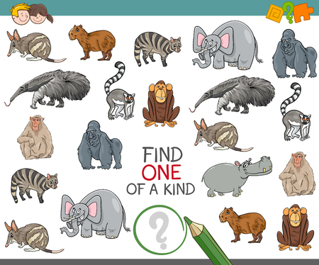 one of a kind: Cartoon Illustration of Find One of a Kind Educational Activity Game for Children with Wild Animal Characters