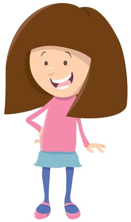 Cartoon Illustration of Cute Girl Kid Character Illustration