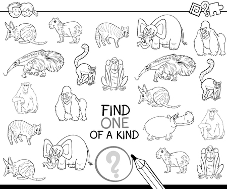 one animal: Black and White Cartoon Illustration of Find One of a Kind Educational Activity Game for Children with Wild Animal Characters Coloring Page