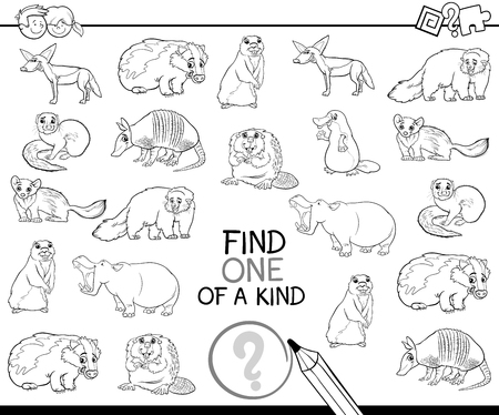 one animal: Black and White Cartoon Illustration of Find One of a Kind Educational Activity for Children with Wild Animal Characters Coloring Page