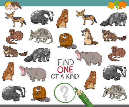 Cartoon Illustration of Find One of a Kind Educational Activity for Children with Wild Animal Characters