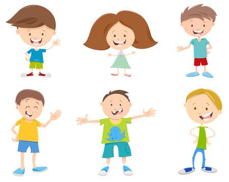 school age: Cartoon Illustration of Happy Children Characters Set Illustration