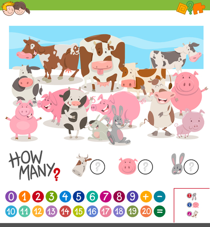 enumerate: Cartoon Illustration of Educational Mathematical Activity of Counting Farm Animal Characters Illustration