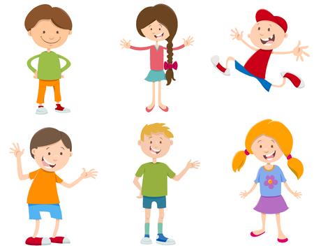 Cartoon Illustration of Cheerful Children Characters Set