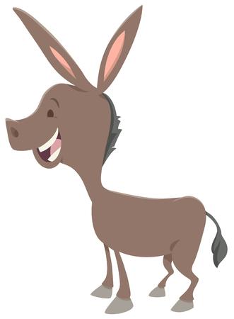 Cartoon Illustration of Cute Donkey Farm Animal Character Illustration