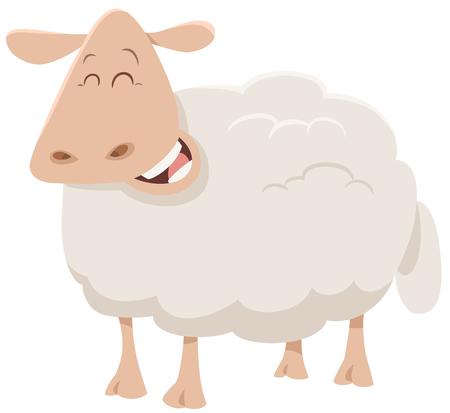 Cartoon Illustration of Cute Sheep Animal Character
