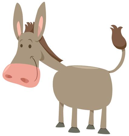 Cartoon Illustration of Cute Donkey Farm Animal Illustration