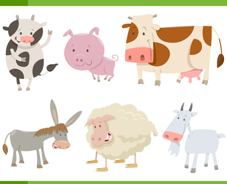 Cartoon Illustration of Cute Farm Animal Characters Collection