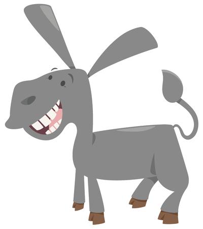 Cartoon Illustration of Happy Donkey Farm Animal Character