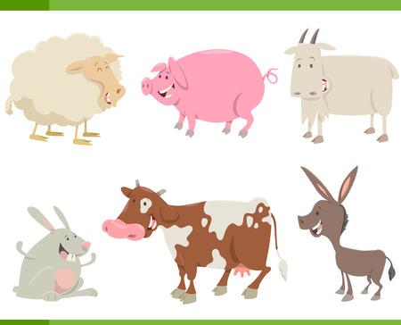 Cartoon Illustration of Farm Animal Characters Set Illustration