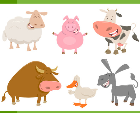 Cartoon Illustration of Cute Farm Animal Characters Set