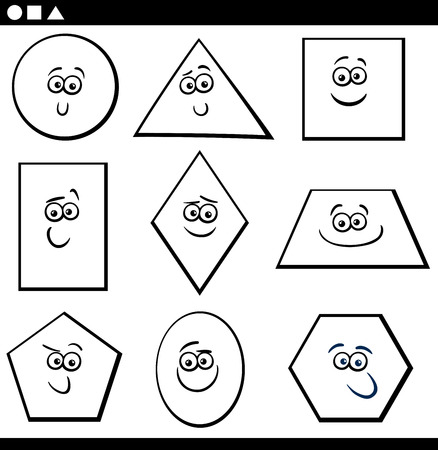 trapezoid: Black and White Cartoon Illustration of Educational Basic Geometric Shapes Funny Characters for Children Coloring Page