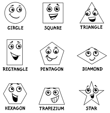 Black and White Cartoon Illustration of Basic Geometric Shapes Funny Characters for Children Coloring Book Illustration