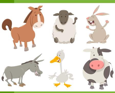Cartoon Illustration of Cheerful Farm Animal Characters Collection