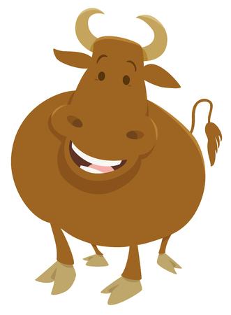 bullock: Cartoon Illustration of Happy Bull Farm Animal Character Illustration