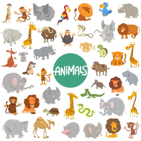wild animal: Cartoon Illustration of Cute Wild Animal Characters Huge Set