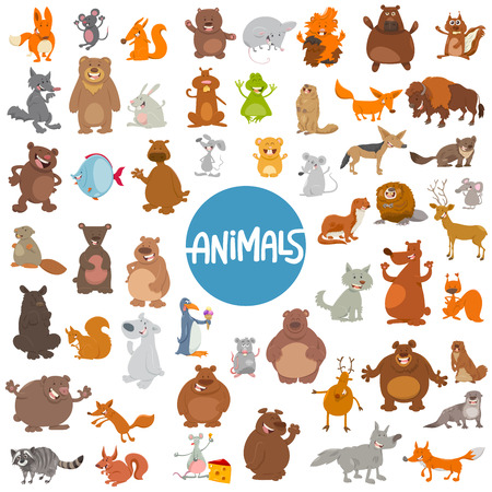 wild animal: Cartoon Illustration of Wild Animal Characters Huge Set Illustration