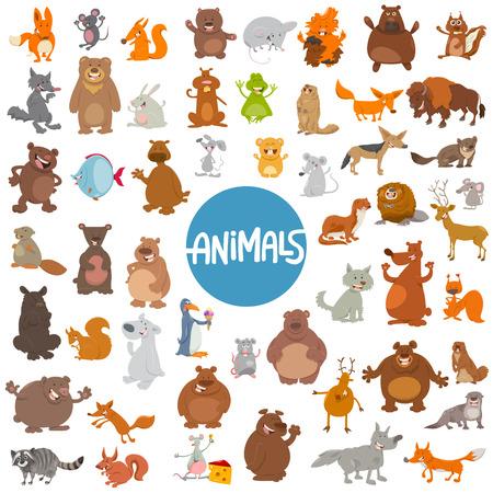 Cartoon Illustration of Wild Animal Characters Huge Set Illustration