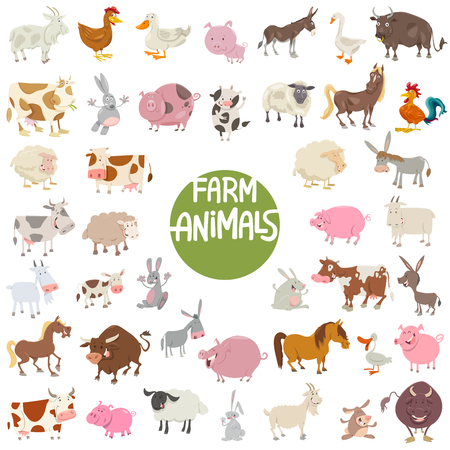 Cartoon Illustration of Cute Farm Animal Characters Huge Set