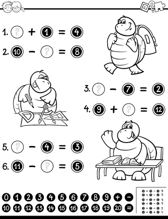 subtraction: Black and White Cartoon Illustration of Educational Mathematical Activity Worksheet for Coloring