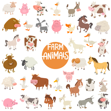 Cartoon Illustration of Cute Farm Animal Characters Large Set