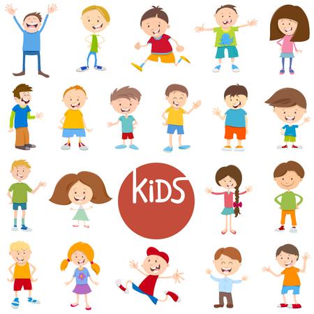 Cartoon Illustration of Cute Children and Teens Characters Big Set Illustration