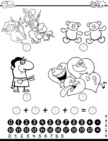 addition: Black and White Cartoon Illustration of Educational Mathematical Activity Game for Children with Valentines Day Characters Coloring Page