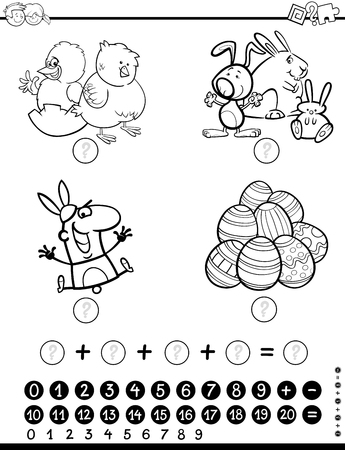 Black and White Cartoon Illustration of Educational Mathematical Activity Game for Children with Easter Holiday Characters Coloring Page