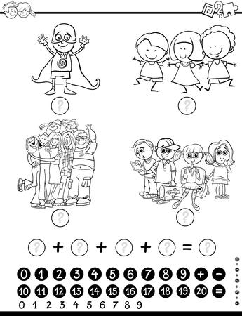 Ilustracion De Dibujos Animados En Blanco Y Negro De Recuento Y