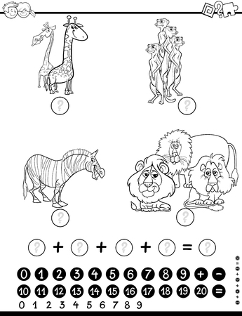 Black and White Cartoon Illustration of Educational Counting Stock Illustratie