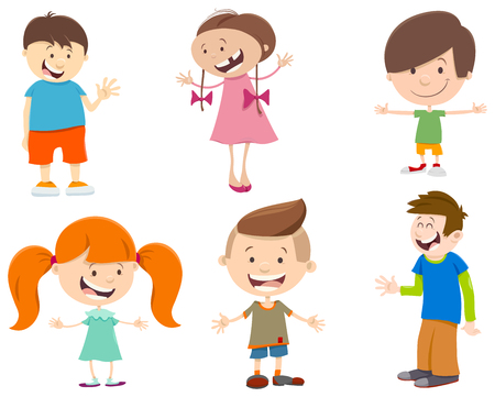 cute cartoon kids: Cartoon Illustration of Cute Kids Characters Set