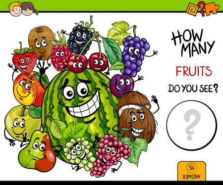 Cartoon Illustration of Educational Counting Activity Game for Children with Fruit Characters Group
