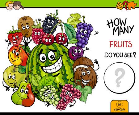 Ilustración de dibujos animados del juego de la actividad de conteo educativo para niños con el grupo de caracteres de frutas Ilustración de vector
