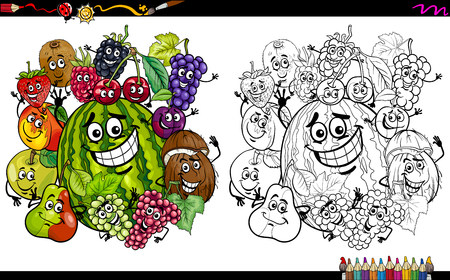 Cartoon Illustration Of Happy Fruit Characters Group Coloring Page Activity Stock Vector