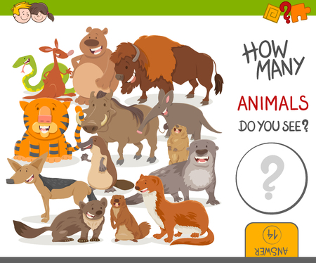 nutria caricatura: Cartoon Illustration of Educational Counting Activity Game for Kids with Cute Wild Animal Characters