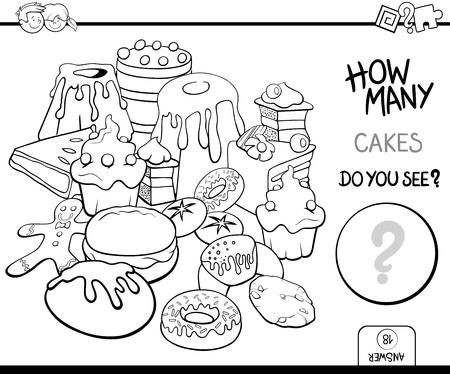 Schwarz Und Weiß Karikatur Illustration Von Kuchen Und Süßwaren Wie ...