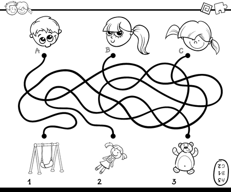 Black and White Cartoon Illustration of Education Paths or Maze Puzzle Game with Children and Toys Illustration