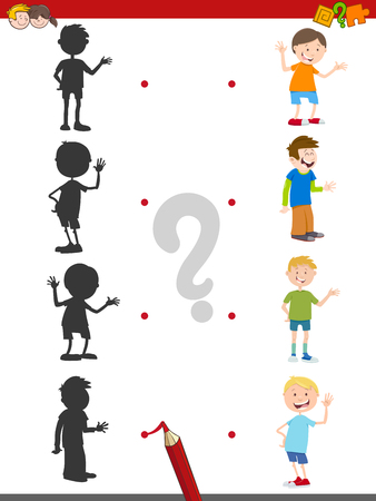 Cartoon Illustration of Assign the Shadow with Kid Character Educational Activity for Children Illustration