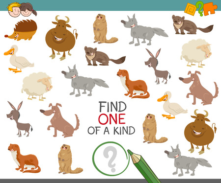 one animal: Cartoon Illustration of Find One of a Kind Educational Activity for Children with Animal Characters Illustration