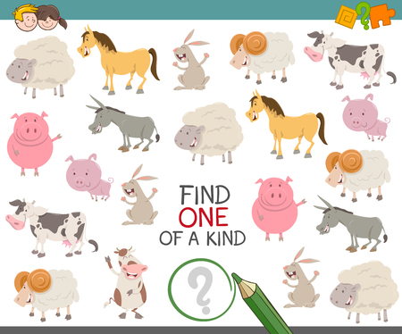 one animal: Cartoon Illustration of Find One of a Kind Educational Activity Game for Kids with Farm Animal Characters