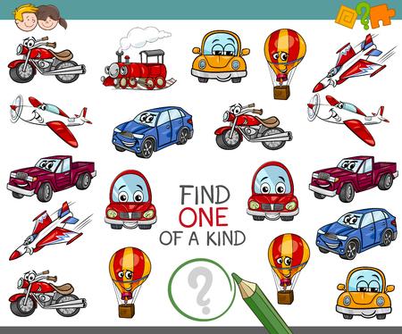 Bande dessinée Illustration d'une activité éducative unique pour les enfants avec des personnages de véhicules de transport