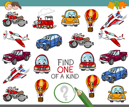 Cartoon Illustration of Find One of a Kind Educational Activity for Children with Transportation Vehicle Characters 矢量图像