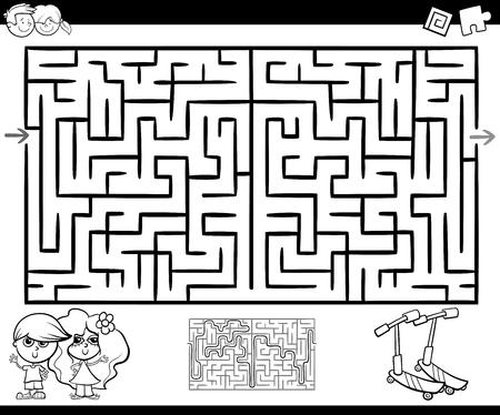 Ilustración De Dibujos Animados De Laberinto De Educación O Juego De ...