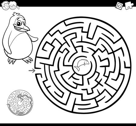 Ilustración De Dibujos Animados De Educación Laberinto O Juego De ...