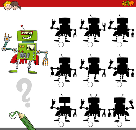 finding: Cartoon Illustration of Finding the Shadow without Differences Educational Activity for Kids with Robot Fantasy Character